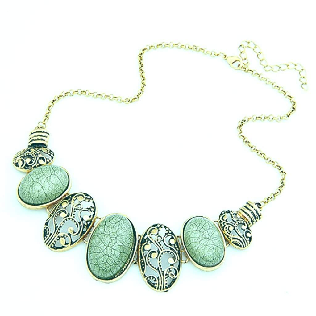 Green and Gold Oval Link Collar Necklace - JaeBee Jewelry