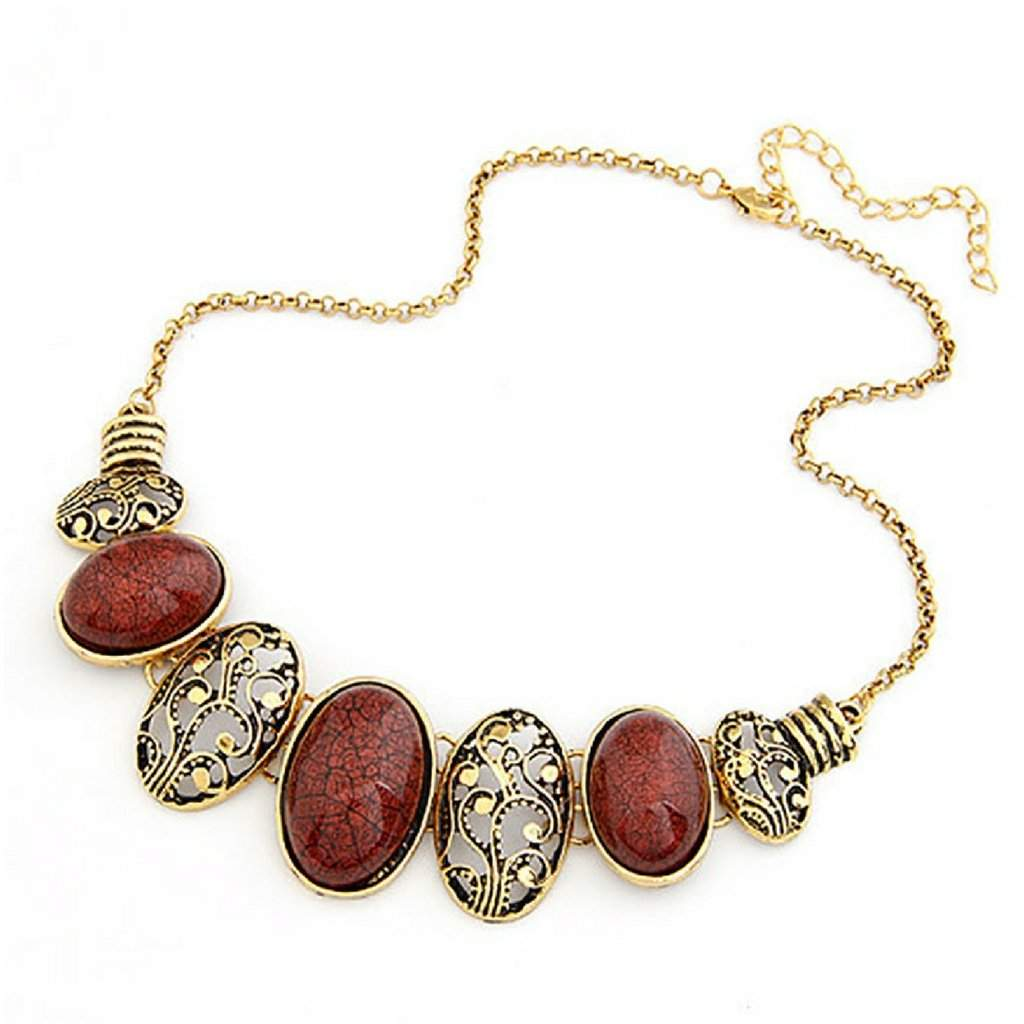 Red and Gold Oval Link Collar Necklace