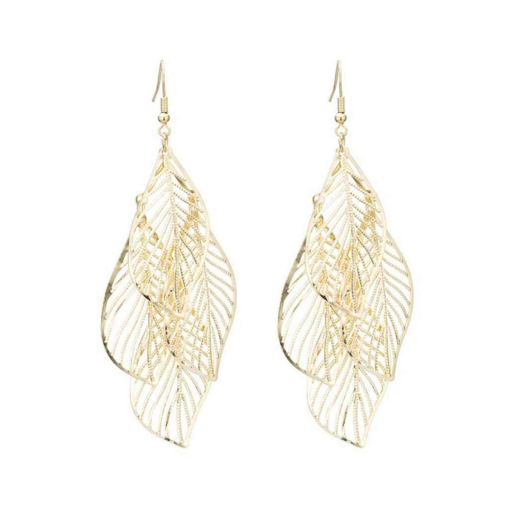 Gold Cut Out Long Dangle Earrings - JaeBee Jewelry