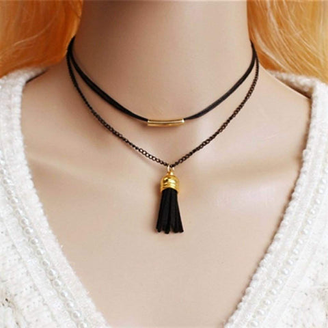 Layered Black Leather and Chain Choker with Tassel