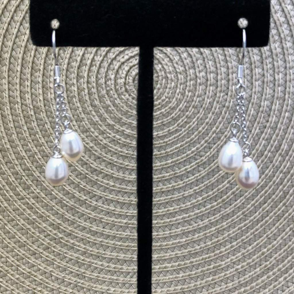 White Double Pearl Drop Earrings