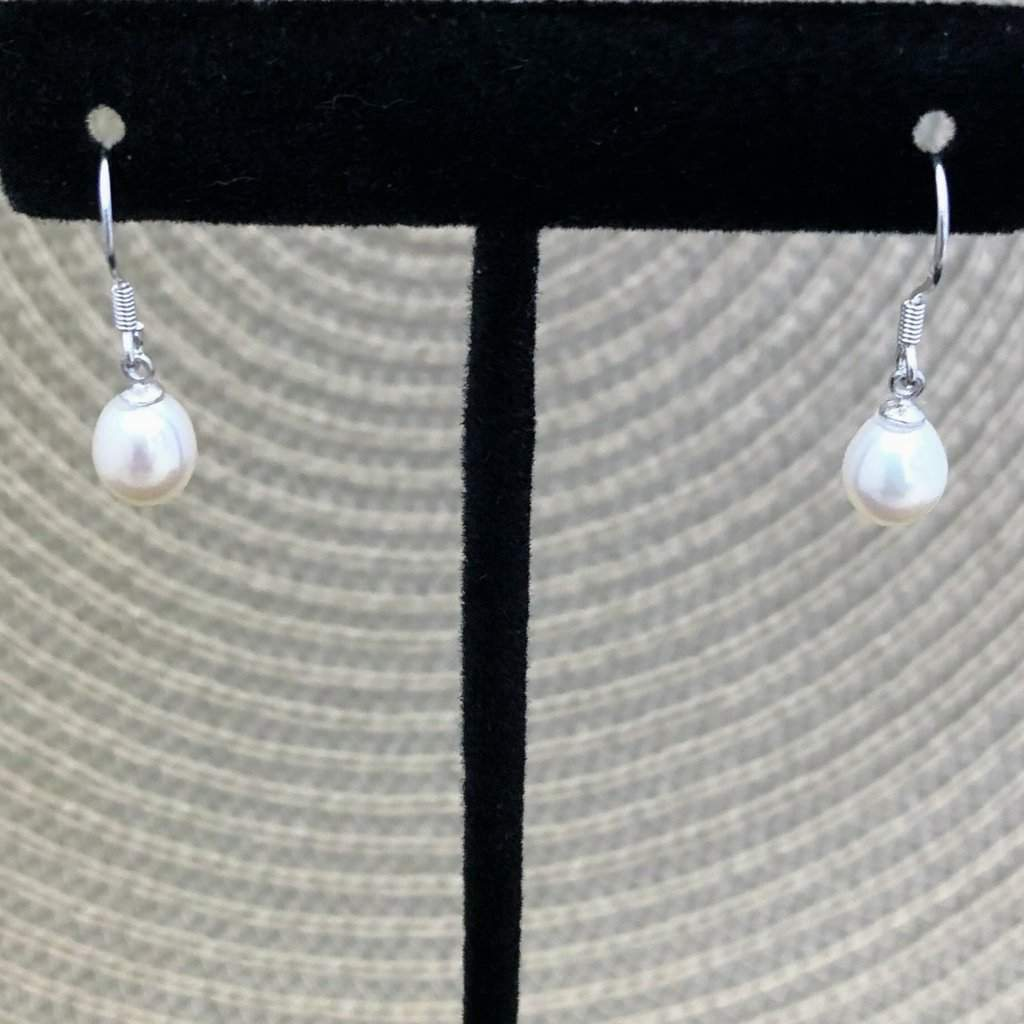 White Cultured Pearl Drop Earrings - JaeBee Jewelry