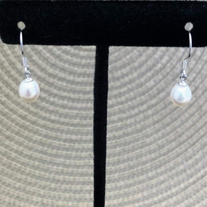 White Cultured Pearl Drop Earrings