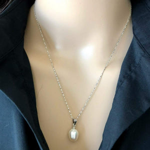White Pearl Drop Sterling Silver Necklace - JaeBee Jewelry