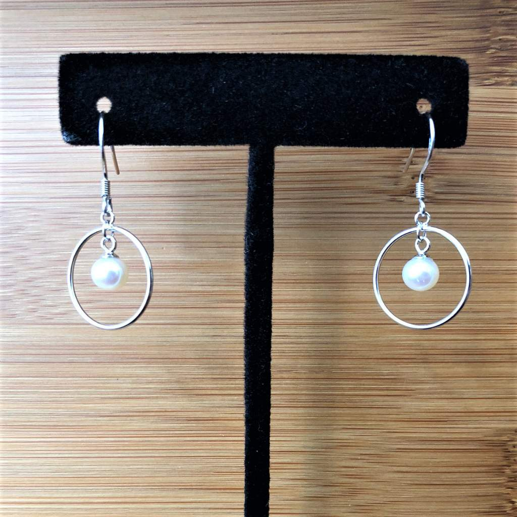 Pearl Sterling Silver Hoop Dangle Earrings