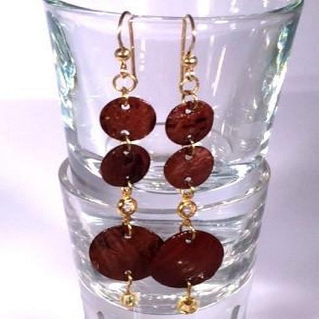 Dark Brown Shell Dangle Earrings - JaeBee