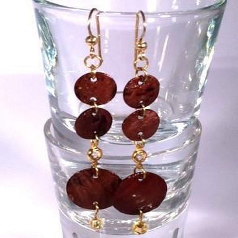 Dark Brown Shell Dangle Earrings
