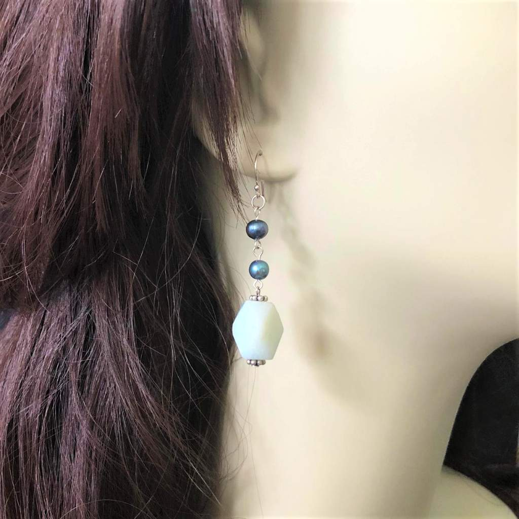 Amazonite and Blue Potato Pearls Dangle Earrings - JaeBee
