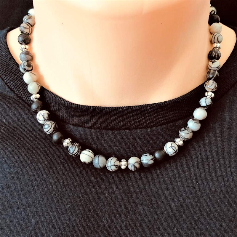 Black Water Jasper Mens Beaded Necklace - JaeBee Jewelry