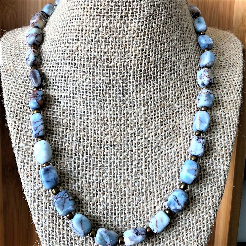 Blue Marble Pebble Men's Necklace - JaeBee Jewelry
