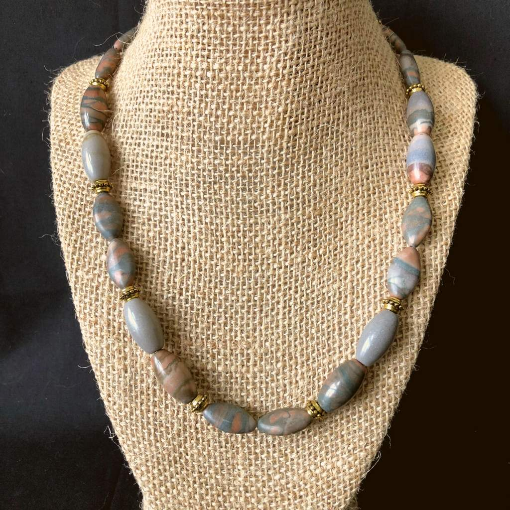 Mens Grey and Brown Stone Beaded Necklace - JaeBee Jewelry