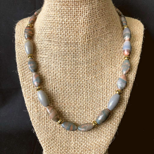 Mens Grey and Brown Stone Beaded Necklace - JaeBee