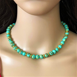 Sea Green Mosaic Beaded Necklace - JaeBee Jewelry