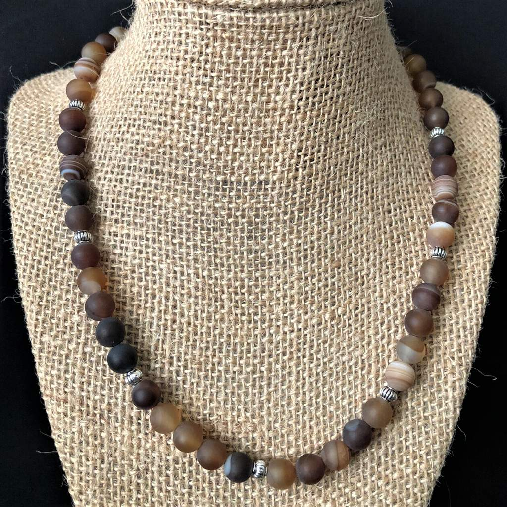 Mens Matte Brown Agate with Silver Beads Necklace