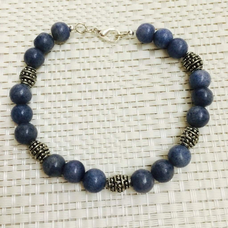 Men's Blue Aventurine Beaded Bracelet - JaeBee Jewelry