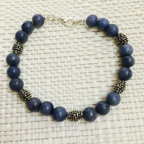 Men's Blue Aventurine Beaded Bracelet