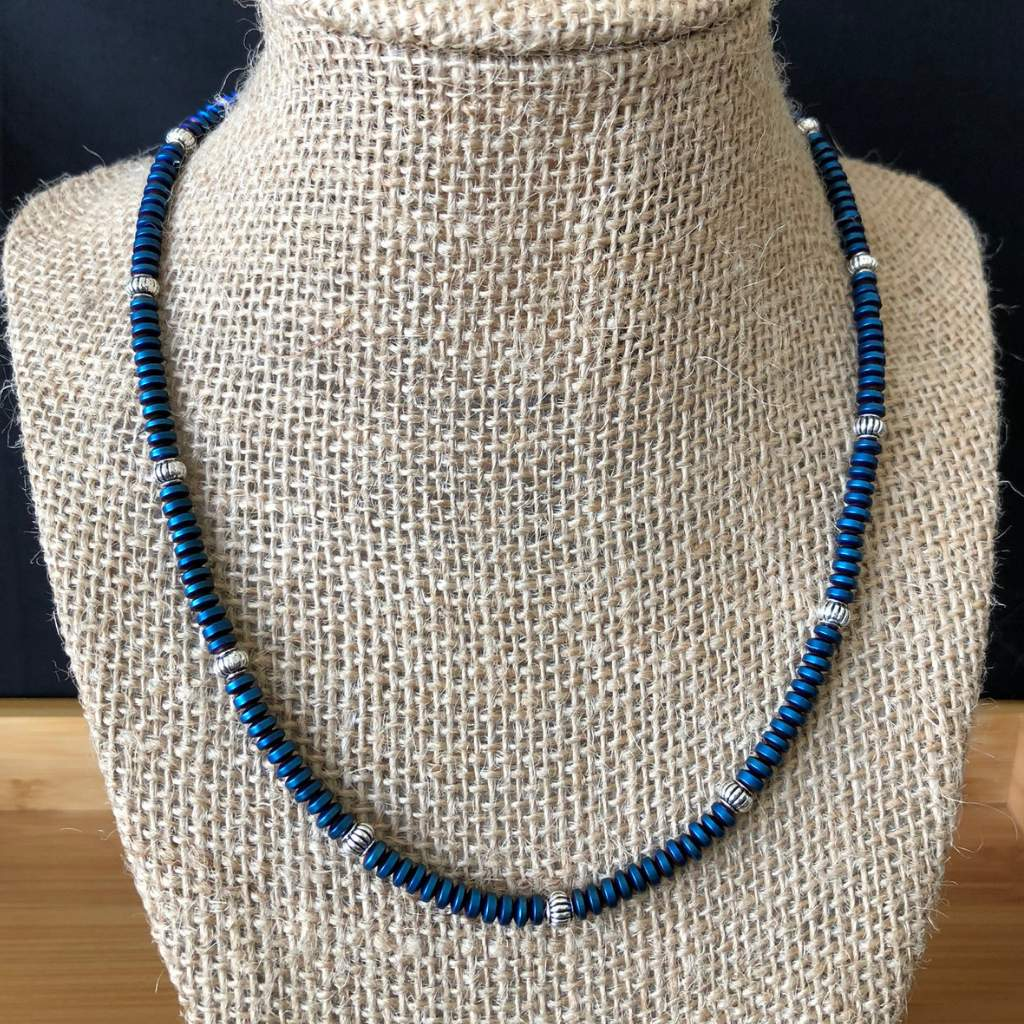 Metallic Blue Cosmos Hematite Matte Rondelle Mens Necklace