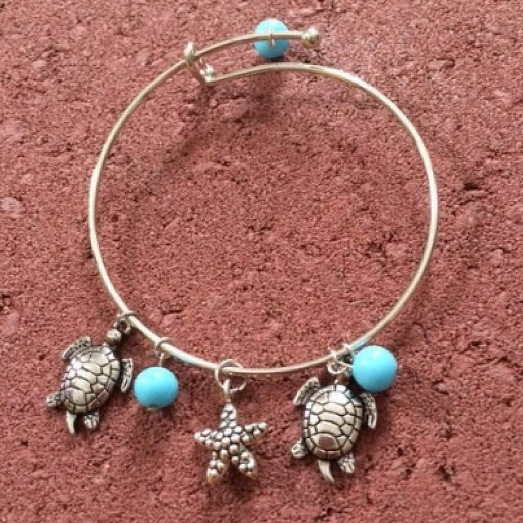 Sea Life Silver Bangle Charm Bracelet - JaeBee Jewelry