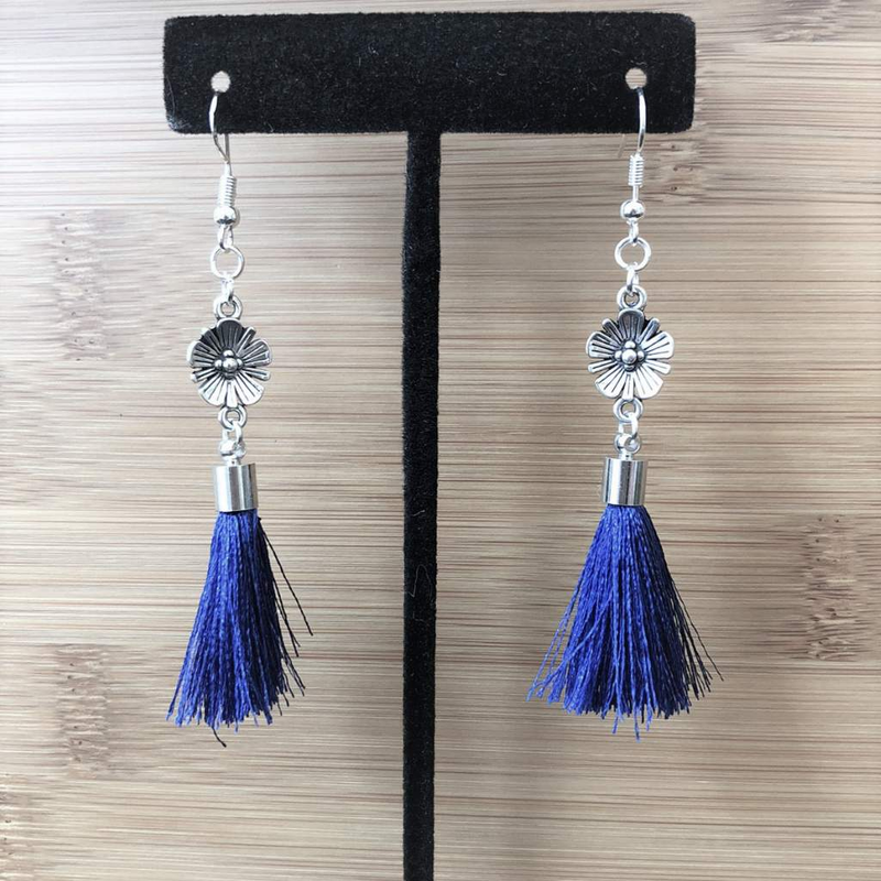 Antique Silver Flower with Blue Tassel Dangle Earrings - JaeBee Jewelry