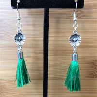 Antique Silver Flower with Green Tassel Dangle Earrings - JaeBee Jewelry