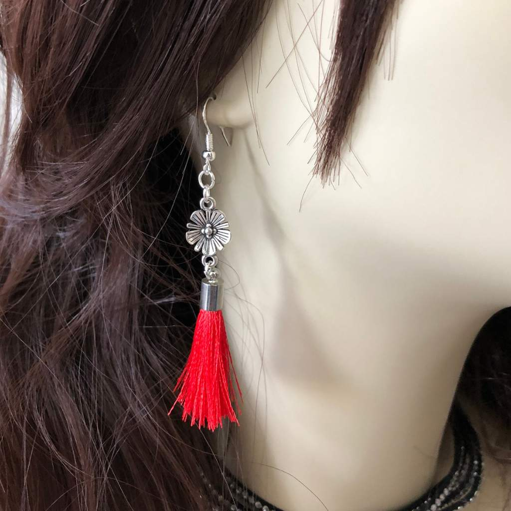 Antique Silver Flower with Red Tassel Dangle Earrings - JaeBee Jewelry