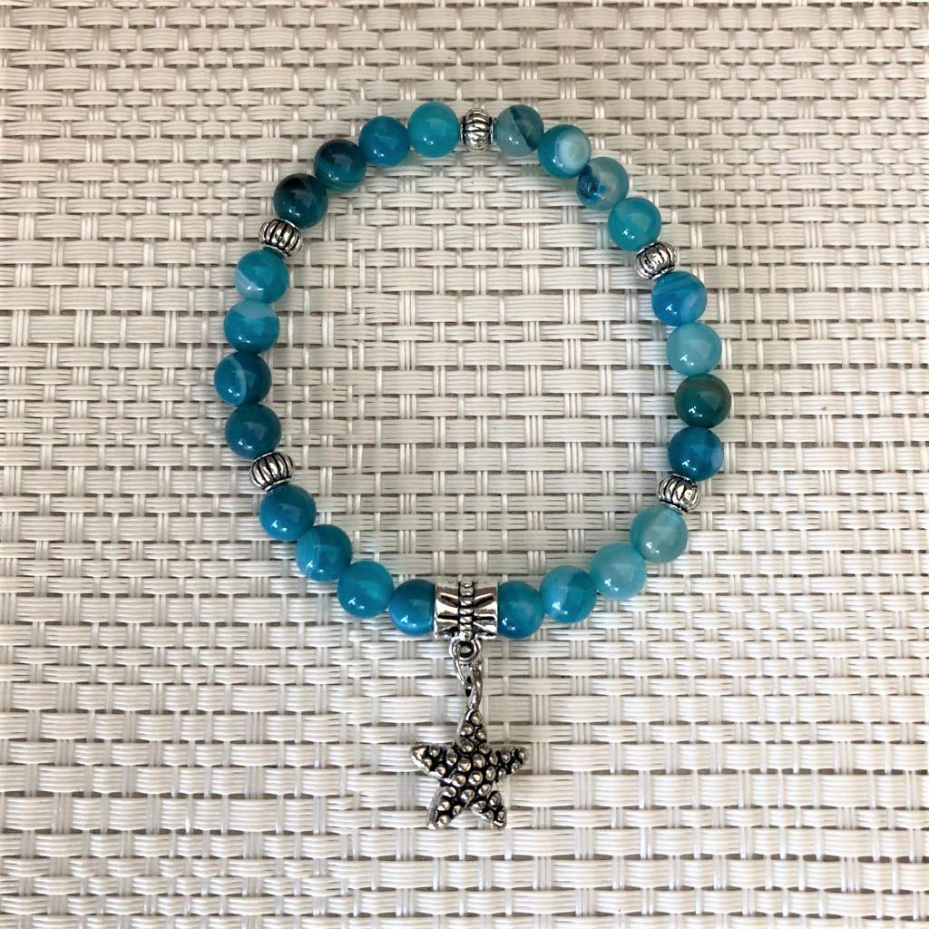 Sky Blue Fire Agate Beaded Bracelet with Silver Starfish Charm - JaeBee Jewelry