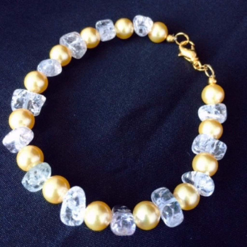 Swarovski Gold Pearl and Clear Quartz Bracelet - JaeBee Jewelry