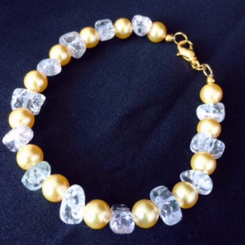 Swarovski Gold Pearl and Clear Quartz Bracelet