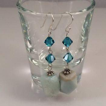 Amazonite and Blue Swarovski Crystals Dangle Earrings