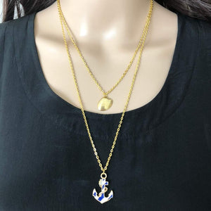 Anchor Gold Layered Nautical Necklace - JaeBee