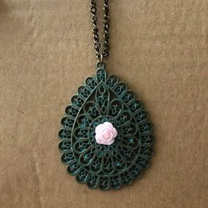 Antique Brass Patina Teardrop and Pink Rose Pendant Necklace - JaeBee