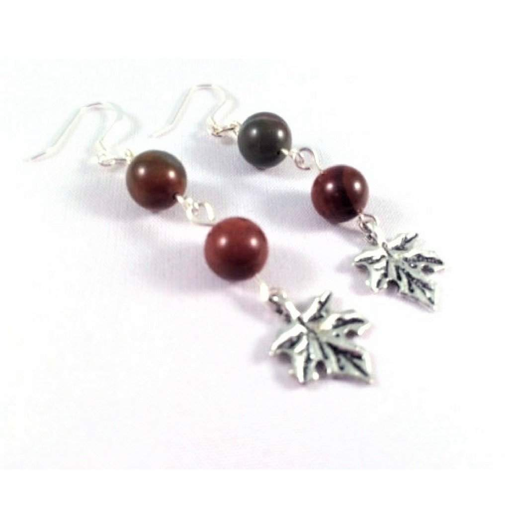 Apple Jasper Earrings with Maple Leaf Charm - JaeBee