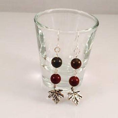 Apple Jasper Earrings with Maple Leaf Charm - JaeBee Jewelry