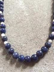 Men's Blue Aventurine Beaded Necklace - JaeBee Jewelry