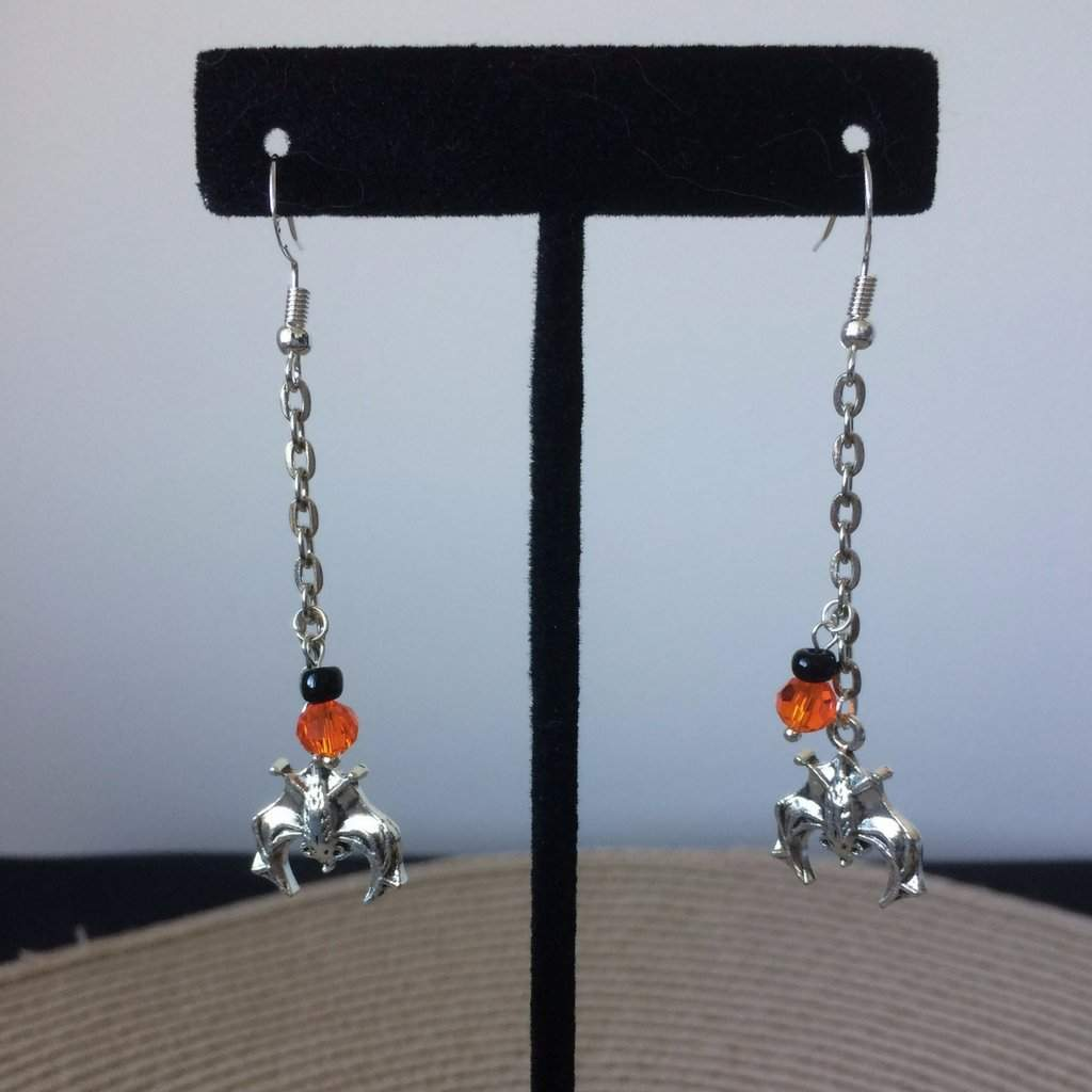 Long Silver Halloween Bat Earrings - JaeBee Jewelry