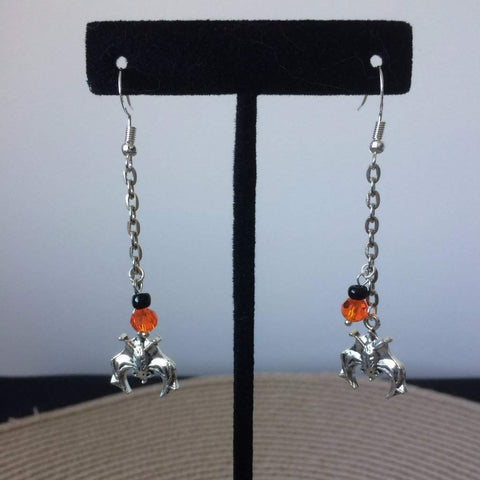 Long Silver Halloween Bat Earrings