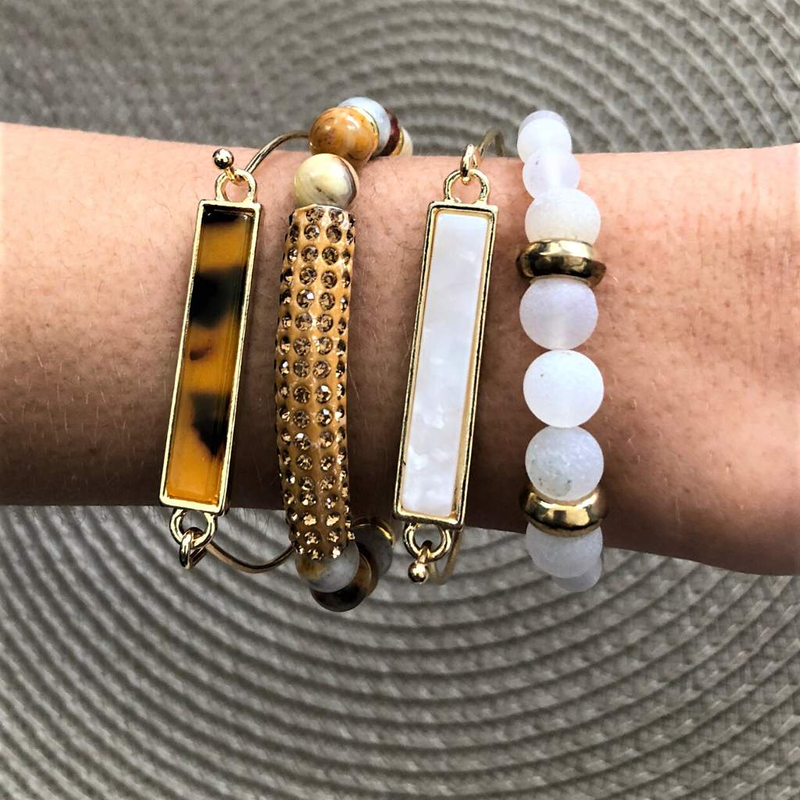 White Marbled Gold Bar Bracelet - JaeBee Jewelry