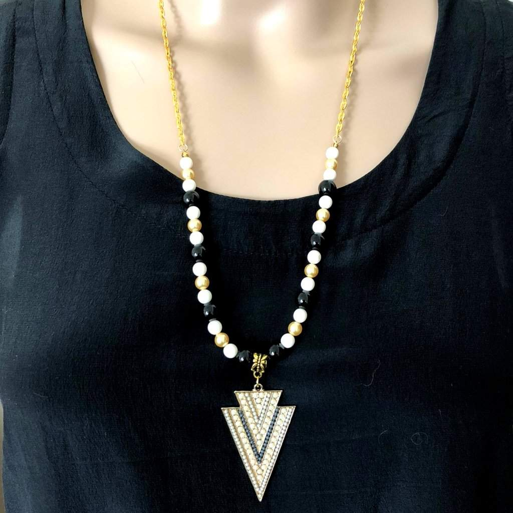 Beige Arrowhead Pendant Beaded Long Necklace - JaeBee Jewelry