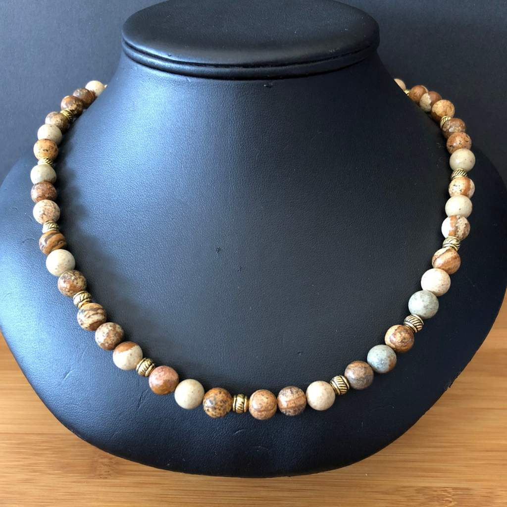 Mens Picture Jasper and Gold Beaded Necklace