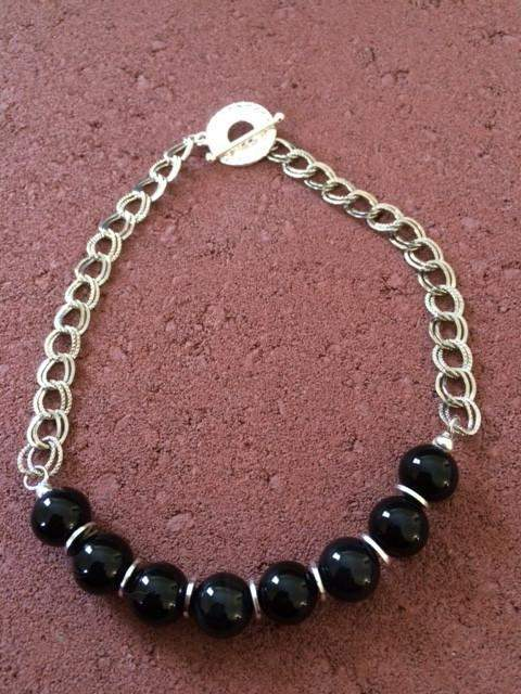 Black Agate and Silver Chain Necklace - JaeBee Jewelry