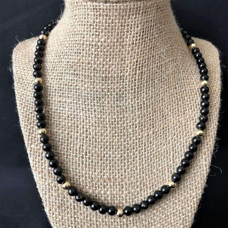 Black and Gold Striped Beaded Unisex Necklace - JaeBee Jewelry