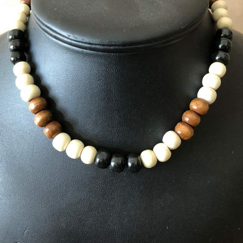 Black White and Brown Wood Beaded Mens Necklace - JaeBee Jewelry