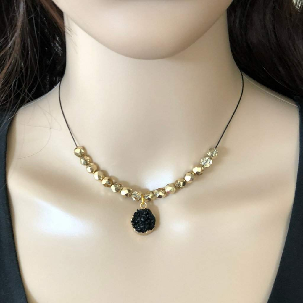 Black Druzy and Gold Beaded Collar Necklace - JaeBee Jewelry