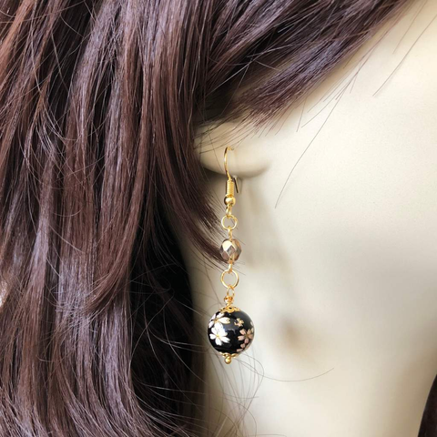 Black Glass Beaded Flower Dangle Earrings