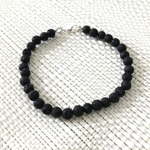 Black Lava Mens Bracelet