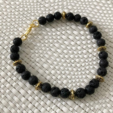 Black Lava and Gold Beaded Mens Bracelet