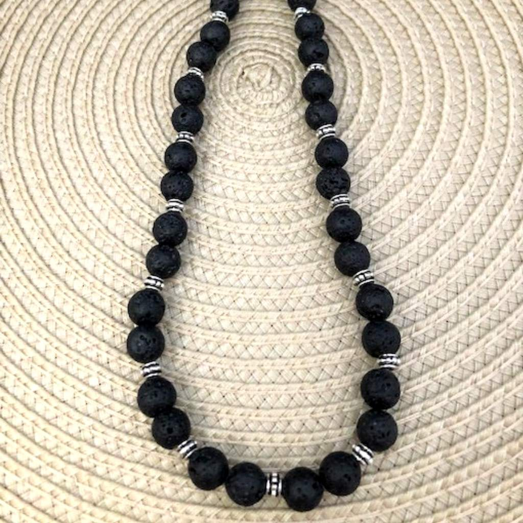 Black Lava Rock Mens and Womens Necklace - JaeBee Jewelry