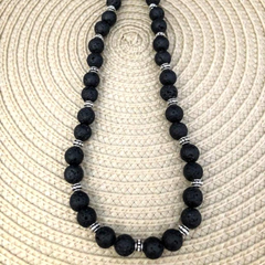 Black Lava Rock Beaded Necklace - JaeBee Jewelry