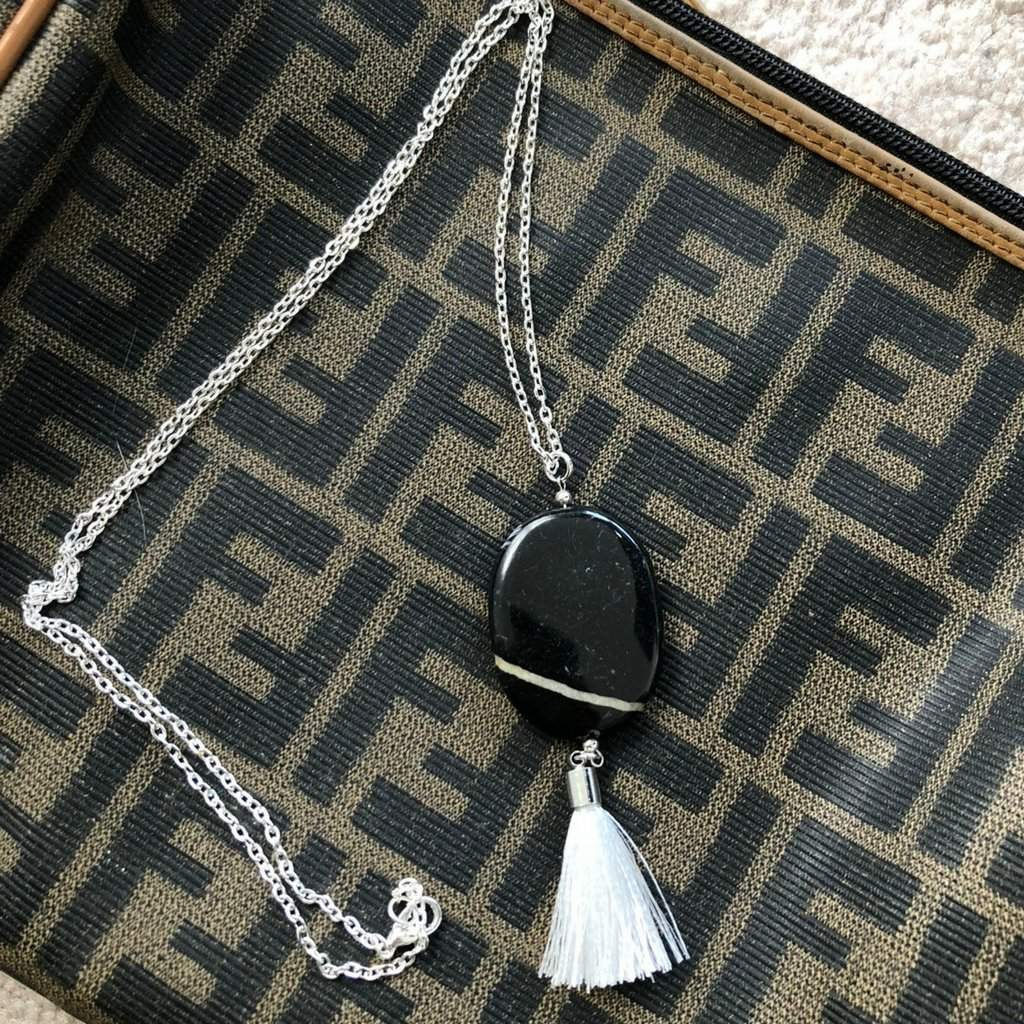 Long Black and White Marble Stone Necklace with White Tassel - JaeBee Jewelry