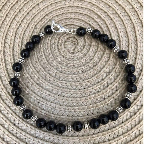 Men's Black Onyx and Silver Beaded Bracelet